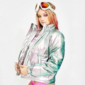 Dolls Kill Holographic Puffer Jacket